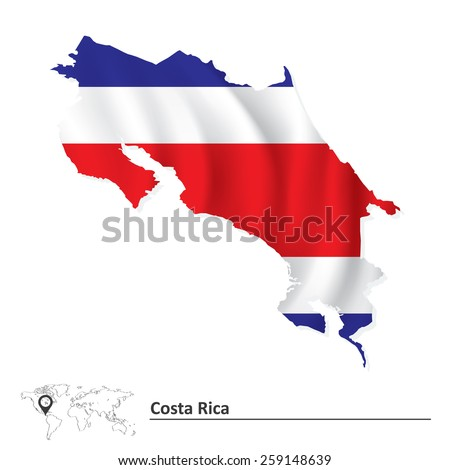 Map of Costa Rica with flag - vector illustration - stock vector