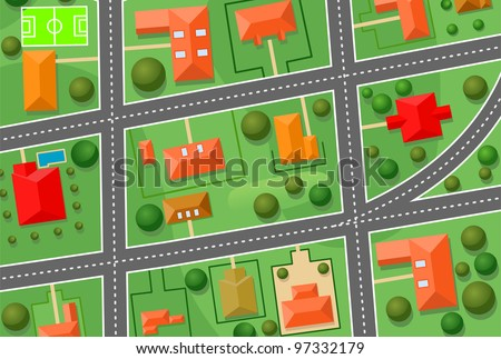 Map of cottage village for sold real estate design. Jpeg version also available in gallery - stock vector