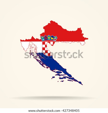 Map of Croatia in Croatia flag colors - stock vector