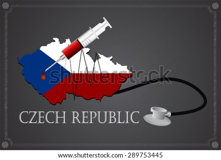 Map of Czech republic with Stethoscope and syringe.