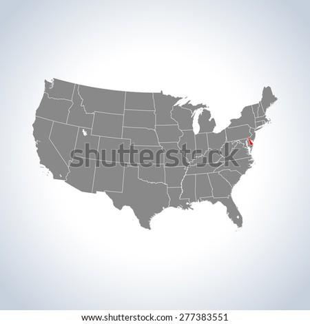 map of Delaware - stock vector