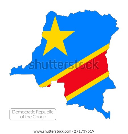 Map of Democratic Republic of the Congo with an official flag. Illustration on white background - stock vector