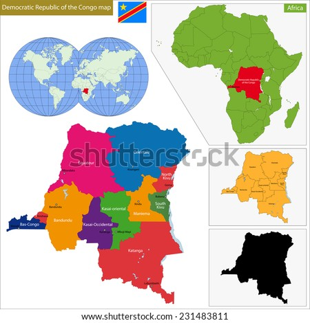 Map of Democratic Republic of the Congo with high detail and accuracy and it is divided into provinces which are colored with different bright colors - stock vector