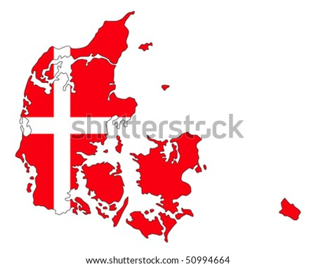 map of Denmark filled with flag of the state - stock vector