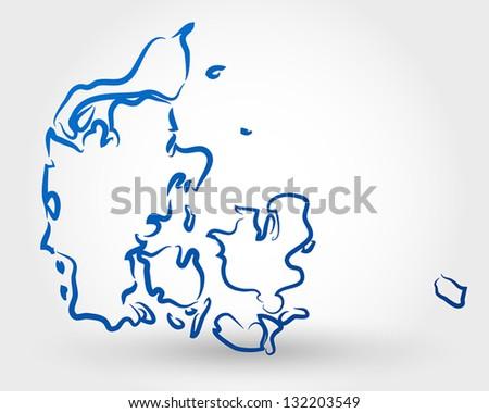 map of denmark. map concept - stock vector