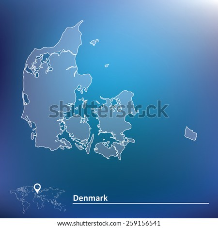 Map of Denmark - vector illustration - stock vector