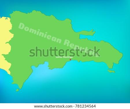 Map Dominican Republic Capital Santo Domingo Stock Vector - Santo domingo map