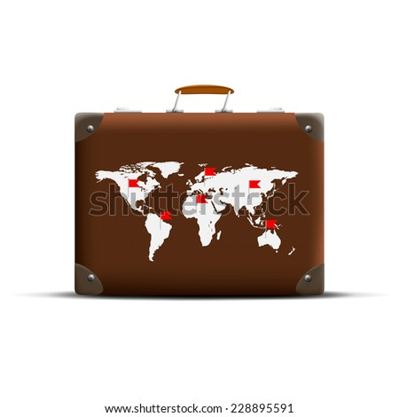 Map of Earth on a brown suitcase - stock vector