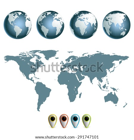 Map of earth planet with continents. Set hemispheres. Stock Vector. - stock vector