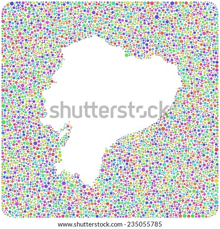 Map of Ecuador - Latin America - into a square icon. Mosaic of harlequin circles - stock vector