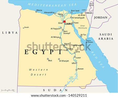 map of Egypt - stock vector