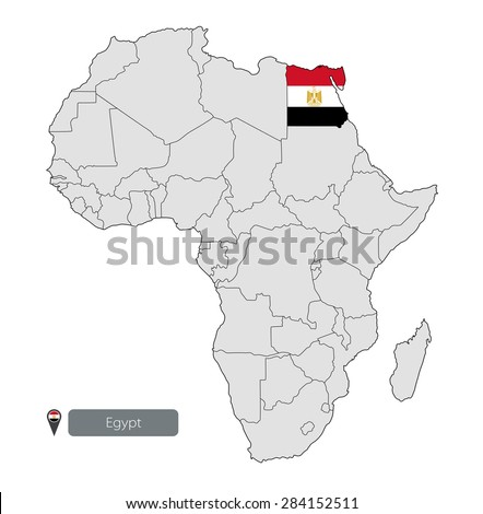 Map Egypt Official Flag Location On Stock Vector - Egypt location