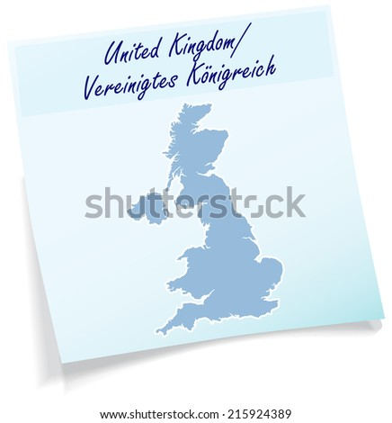 Map of England as sticky note in blue - stock vector