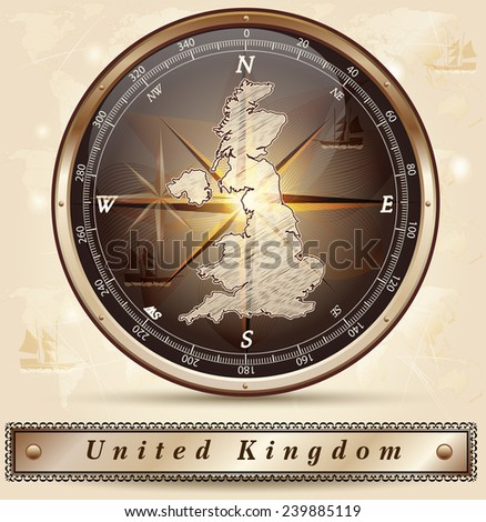 Map of England with borders in bronze - stock vector