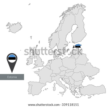 Map estonia official flag location europe stock vector royalty free map of estonia with an official flag location in europe gumiabroncs Images