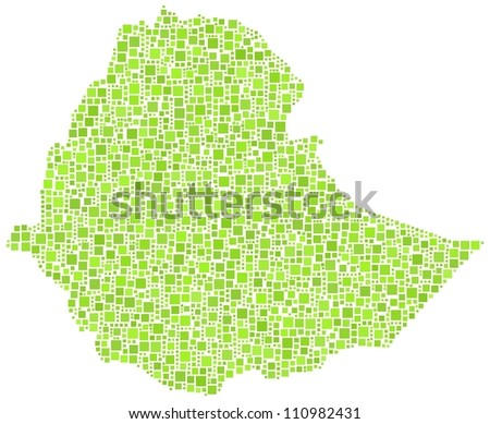 Map of Ethiopia - Africa.- in a mosaic of green squares