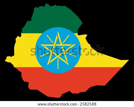 map of Ethiopia and Ethiopian flag illustration
