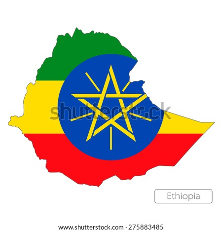 Map of Ethiopia with an official flag. Illustration on white background