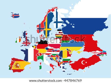 Map of Europe colored with the flags of each country