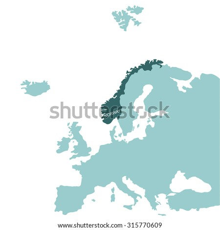 Map of Europe, Norway - stock vector