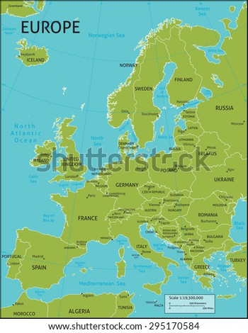 Map Europe All Country Names Capital Stock Vector - Latitude and longitude of france