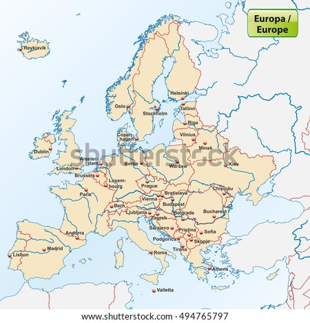 map europe capital cities stock vector hd royalty free 494765797 shutterstock