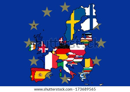 Map of Europe with each country colored in as their flag and a background of the EU flag. Non EU members have been removed. - stock vector