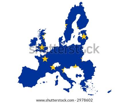map of European union and EU flag illustration - stock vector