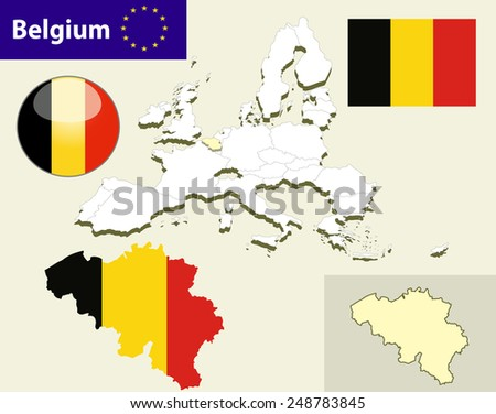 Map of European Union countries, with every state easy selectable and editable. Belgium. Vector - Belgium Flag Glossy Button - stock vector