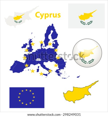 Map of European Union countries, with every state easy selectable and editable. Cyprus. Vector - Cyprus Flag Glossy Button - stock vector