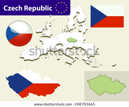 Map of European Union countries, with every state easy selectable and editable. Czech Republic. Vector - Czech Republic Flag Glossy Button