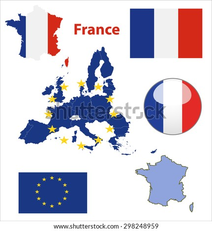 Map of European Union countries, with every state easy selectable and editable. France. Vector - France Flag Glossy Button - stock vector