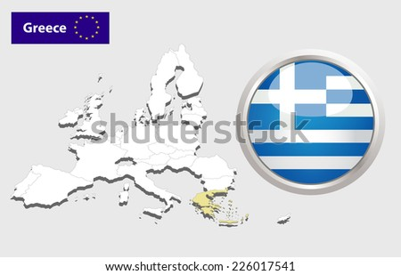 Map of European Union countries, with every state easy selectable and editable. Greece. Vector - Greece Flag Glossy Button - stock vector
