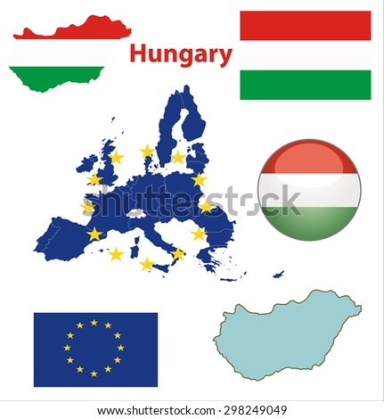 Map of European Union countries, with every state easy selectable and editable. Hungary. Flag Glossy Button Hungary. - stock vector