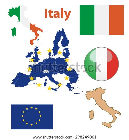 Map of European Union countries, with every state easy selectable and editable. Italy. Vector - Italy Flag Glossy Button - stock vector