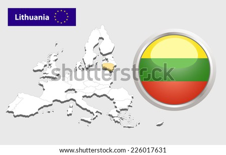 Map of European Union countries, with every state easy selectable and editable. Lithuania.Vector - Lithuania Flag Glossy Button    - stock vector
