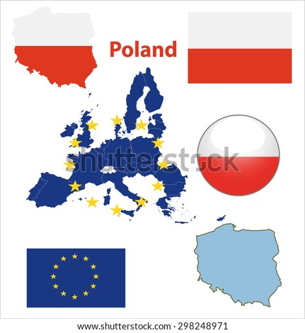Map of European Union countries, with every state easy selectable and editable. Poland. Vector - Poland Flag Glossy Button - stock vector
