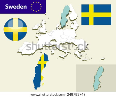 Map of European Union countries, with every state easy selectable and editable. Sweden. Vector - Sweden Flag Glossy Button - stock vector