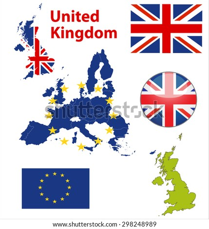 Map of European Union countries, with every state easy selectable and editable. United Kingdom. Vector - United Kingdom Flag Glossy Button - stock vector