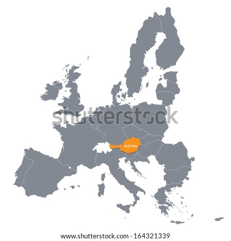 map of European Union with the indication of Austria