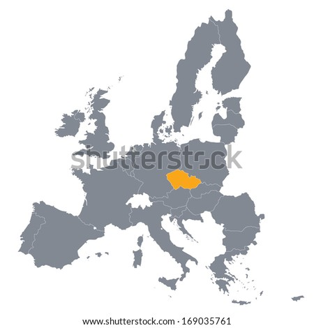 map of European Union with the indication of Czech Republic