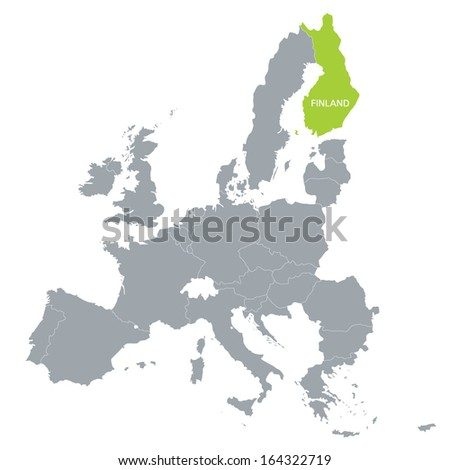 map of European Union with the indication of Finland