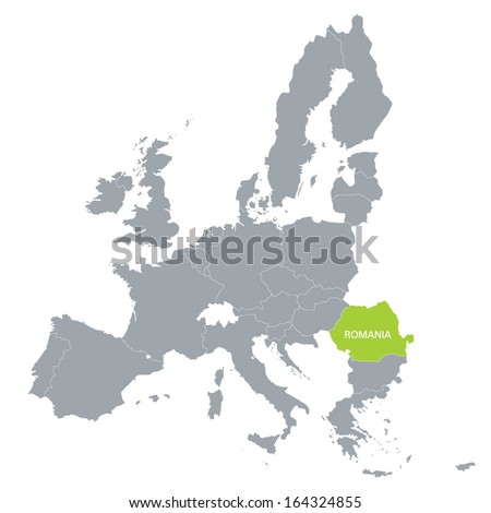 map of European Union with the indication of Romania