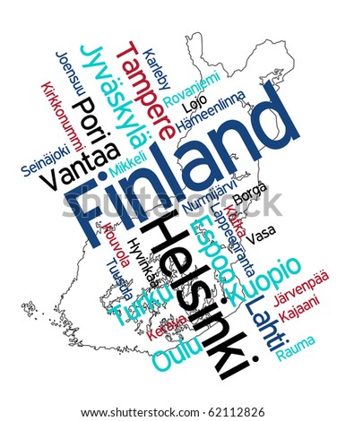 Map of Finland and text design with major cities - stock vector