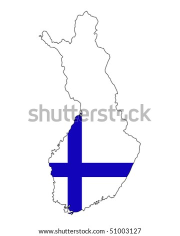 map of Finland filled with flag of the state - stock vector