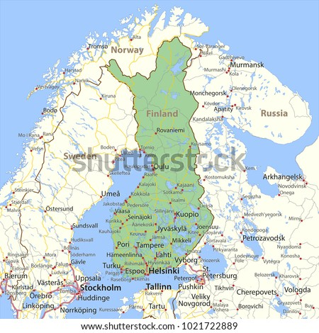 Map Finland Overview Map Green Stock Illustration 170783321
