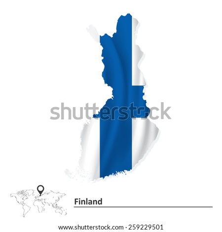 Map of Finland with flag - vector illustration - stock vector