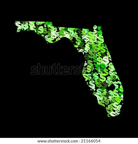 Map of Florida with collage of colourful dollar symbols illustration