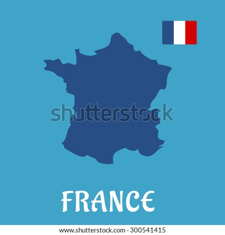 Map of France and national flag icon in the upper corner, for education or travel concept design. Flat style - stock vector