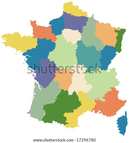 Map of France divided into regions - stock vector